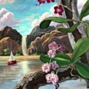 The Orchids And The Sailboat Art Print
