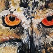 The Owl Of Lakshmi Textured Painting_0476 Art Print