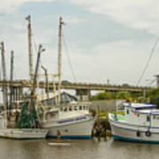 The Paddler Tybee Island Shrimp Boats Art Print