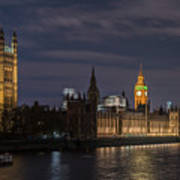 The Palace Of Westminster By Night Art Print