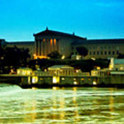 The Philadelphia Art Museum And Waterworks At Night Art Print