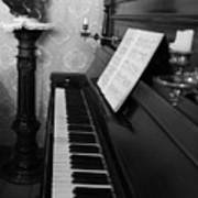 The Piano - Black And White Art Print