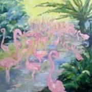 The Pink Pond Of Flamingos Art Print