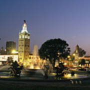 The Plaza In Kansas City, Mo, At Night Art Print