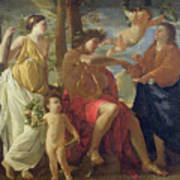 The Poets Inspiration Art Print by Nicolas Poussin