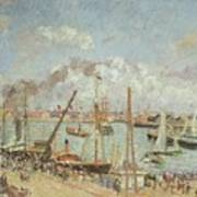 The Port Of Le Havre In The Afternoon Sun Print by Camille Pissarro