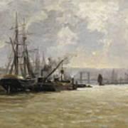 The Port Of Rouen Art Print