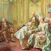 The Presentation Of The Young Mozart To Mme De Pompadour At Versailles Art Print