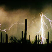 The Quiet Southwest Desert Lightning Storm Art Print