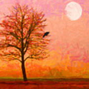 The Raven And The Moon Art Print by Wingsdomain Art and Photography