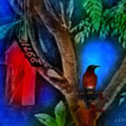 The Red Birdhouse Art Print