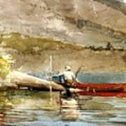 The Red Canoe Art Print by Pg Reproductions