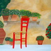 The Red Chair, Tuscany Art Print