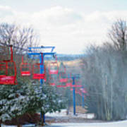 The Red Chairlift Art Print