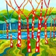 The Red Forest Art Print by Carola Ann-Margret Forsberg