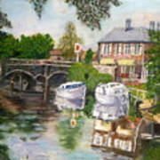 The Red Lion Inn By The Riverbank Art Print