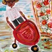 The Red Steel Barrow Art Print by Mary Carol Williams