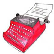 The Red Typewriter Art Print
