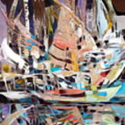 The Reflection Of Boats Art Print by Therese AbouNader