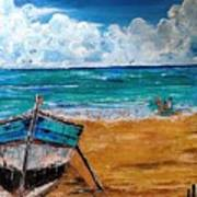 The Resting Boat And The Beach Holidays Art Print