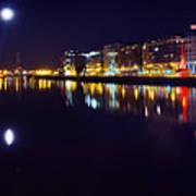 The River Liffey Night Romance V2 Art Print