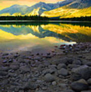 The Rockies Reflected At Lake Annettee Art Print