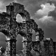 The Roman Aqueduct At Aspendos, Turkey.    Black And White Art Print