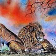The Royal Lions Of The Mara Art Print