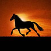 The Running Horse Background Art Print