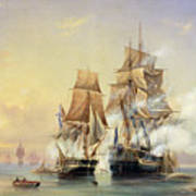 The Russian Cutter Mercury Captures The Swedish Frigate Venus On 21st May 1789 Art Print by Aleksei Petrovich Bogolyubov