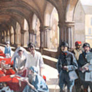 The Scottish Women's Hospital - In The Cloister Of The Abbaye At Royaumont. Art Print