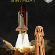 The Scream World Tour Space Shuttle Happy Birthday Art Print by Eric Kempson
