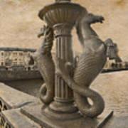 The Seahorses 3 Sepia Art Print