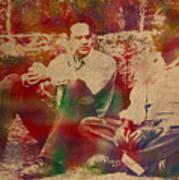 The Shawshank Redemption Movie Inspired Watercolor Portrait Of Tim Robbins And Morgan Freeman On Worn Distressed Canvas Art Print