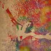 The Shawshank Redemption Movie Inspired Watercolor Portrait Of Tim Robbins On Worn Distressed Canvas Art Print