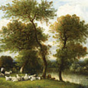 The Shepherd's Break With  His Sheep Art Print