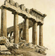 The South-east Corner Of The Parthenon. Athens Art Print