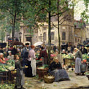 The Square In Front Of Les Halles Art Print by Victor Gabriel Gilbert