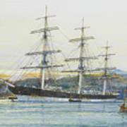 The Square-rigged Australian Clipper Old Kensington Lying On Her Mooring Art Print