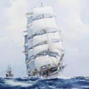 The Square-rigged Wool Clipper Argonaut Under Full Sail Art Print