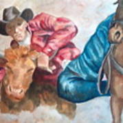 The Steer Wrestler Art Print