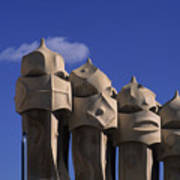 The Strangely Shaped Rooftop Chimneys Art Print
