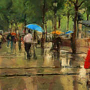 The Streets Of Paris In The Rain Art Print