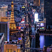 the Strip at night, Las Vegas Art Print