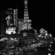 The Strip By Night B-w Art Print