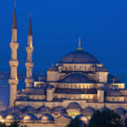 The Sultanahmet Or Blue Mosque At Dusk Art Print