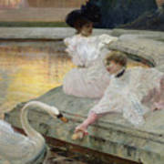 The Swans Print by Joseph Marius Avy