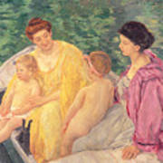 The Swim Or Two Mothers And Their Children On A Boat Art Print