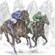 The Thunder Of Hooves - Horse Racing Print Color Art Print