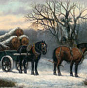 The Timber Wagon In Winter Art Print by Anonymous